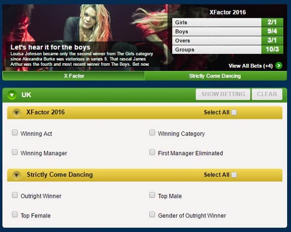 betting on TV programmes at Coral