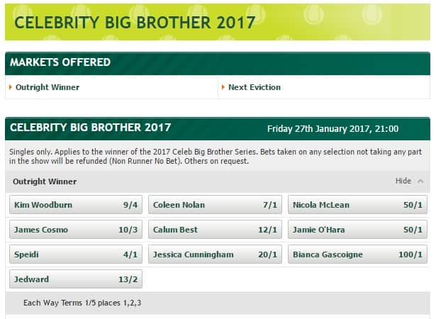 Paddy Power celebrity big brother betting