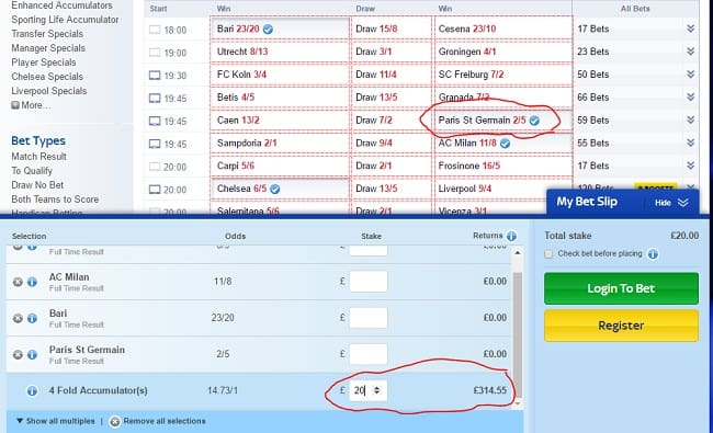 how to add more bets to sky bet accumulator
