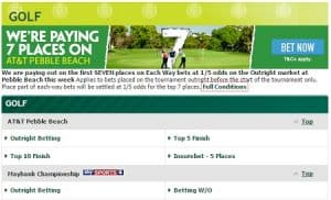 what are the best bookies for betting on golf?