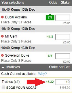 completed place only acca bet slip with stake