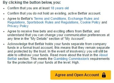 click button to sign up for betfair