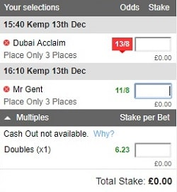 place only accumulator coupon with 2 bets added