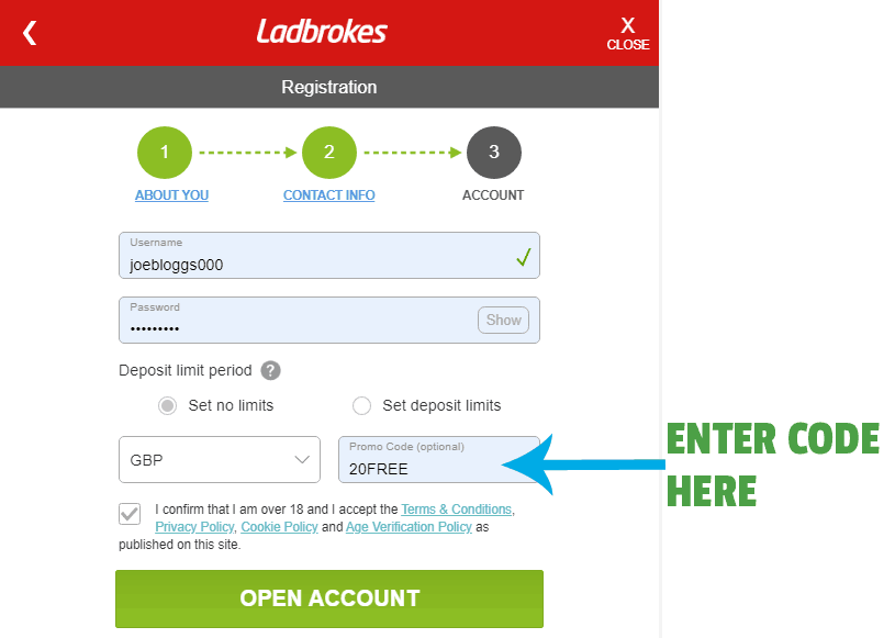 ladbrokes bonus code