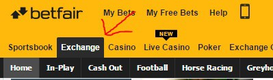 lay bet Betfair exchange