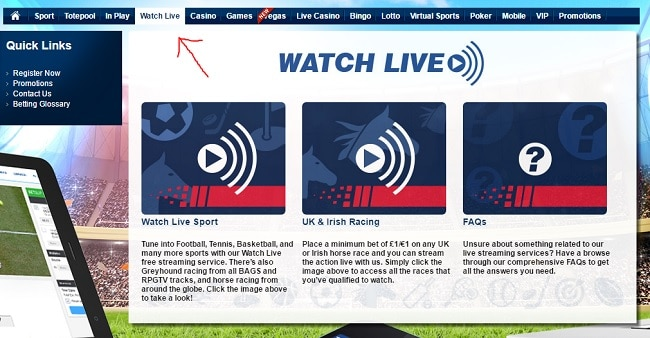 how to access live streaming at Betfred