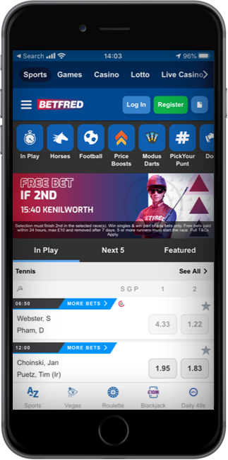 Betfred iphone app